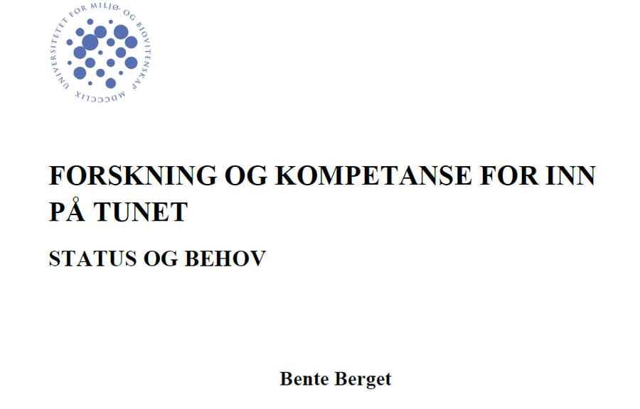 Forskning og kompetanse for Inn på tunet  UMB-2013