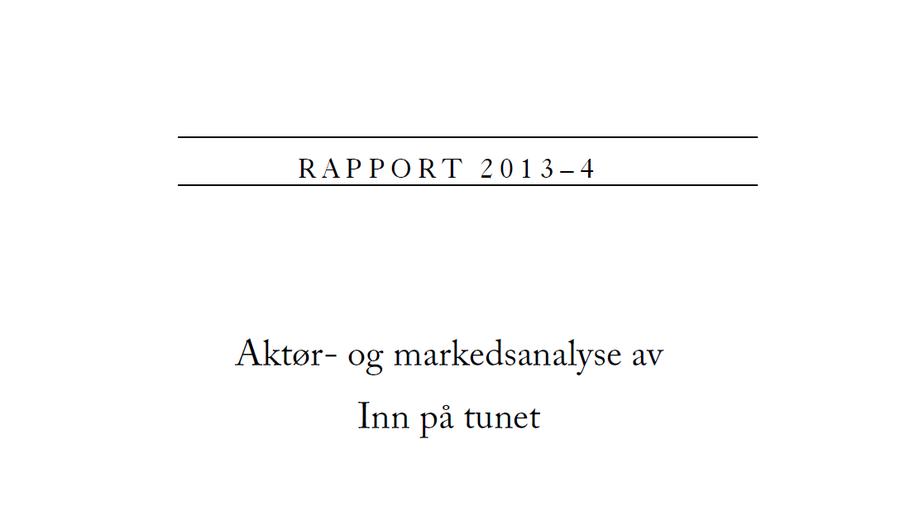 Aktør og markedsanalyse NILF-2013